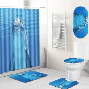 Dolphin Bathroom Rug Set Shower Curtain Bath Mat Toilet Lid Cover Shower Mat