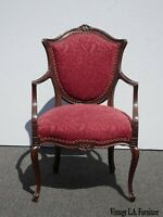Antique French Louis XVI Red Burgundy Ornately Carved Accent Chair