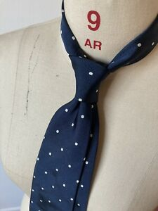 Drake's London Tie, Handmade, Light Navy, Polka Dot, Silk 100%, Classic
