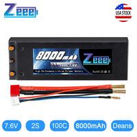Zeee 8000mAh 7.6V 100C LiPo Battery 2S Deans Plug Hardcase for RC Car Truck
