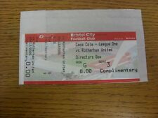 28/12/2005 Ticket: Bristol City v Rotherham United [Directors Box Complimentary,