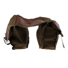 Heavy-duty Motorcycle Bicycle Canvas Pannier Bags Saddlebags Luggage Brown