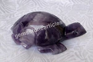 "3"" Amethyst Real Stone Tortoise Housewarming Gift For Her Birthday Decoration"