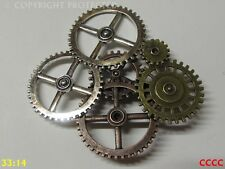 steampunk brooch badge silver bronze copper mechanical clockwork cogs gearwheels