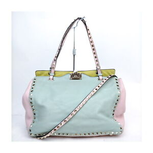 VALENTINO GARAVANI Tote Bag 2way Light Blue Leather 2201139