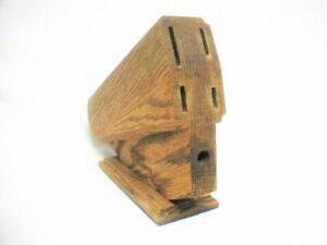 CHICAGO CUTLERY Oak Wood Kitchen Knife Block Holder 5 Slots Mint Pre-Owned