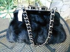 BRIGHTON NWT CORONATION FAUX FUR MEDIUM PURSE/HANDBAG BLACK