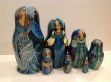 "OOAK J.TALMAN VINTAGE UNIQUE RUSSIAN NESTING DOLL 7 PC ""RUSSIAN  BEAUTIES"" 90-S"