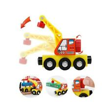 Magnetic Wooden Crane Transport Vehicles Track Educational Toy Kid Gift Children