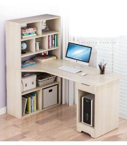 120cm Computer Desk Corner Laptop Students Writing Study Table Storage Bookshelf