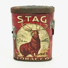 STAG TOBACCO LITHO TIN - OLD ANTIQUE VERTICAL OVAL POCKET PIPE & CIGARETTE TIN