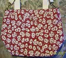 PURSE BAG LIZ CLAIBORNE RED RUST WHITE DAZIES COTTON Free Shipping