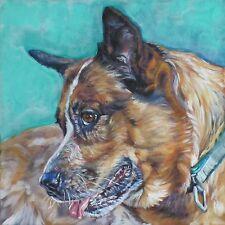 Australian Cattle dog CANVAS art PRINT of painting  LSHEP 8x8 red heeler
