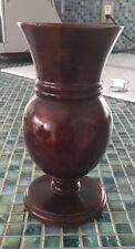 HAND MADE  DECORATIVE VASE IN SOLID WOOD FROM HAITI 1970'S 7 INCHES HIGH