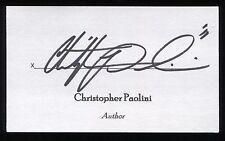 Christopher Paolini Signed 3x5 Index Card Signature Autographed Author Eragon