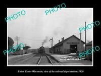 OLD POSTCARD SIZE PHOTO OF UNION CENTER WISCONSIN RAILROAD DEPOT STATION c1920