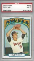 1972 Topps baseball card #656 Rudy May, California Angels graded PSA 7