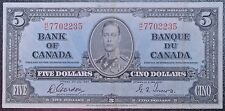 BANK OF CANADA 1937 -$5 BANK NOTE - Prefix R/C - Signed Gordon & Towers - NCC