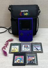 Nintendo Gameboy Color Grape Purple TESTED Bundle W/ 5 Games, Case & Light