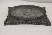 Signed CHRISTIAN TORTU Art Pottery Black/White Speckled Floral Vase Centerpiece