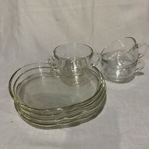 Vintage Mid Century Modern 4 Glass Snack Lunch Plates wt 3 Punch Cups, Art Deco