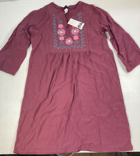 NWT TEA COLLECTION Embroidered Henley Dress Rose Quartz Pink Girls Size 12