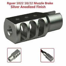 Us Slip On Set Screw Tightened Ruger 10/22 1022 Muzzle Brake Tanker Style Silver