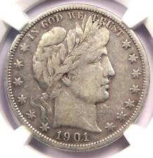 1901-S Barber Half Dollar 50C - NGC VF20 - Rare Date - Certified Coin!