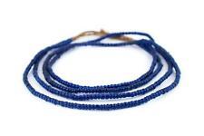 Translucent Blue Kenya Seed Beads 4mm African Glass 25 Inch Strand Handmade