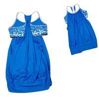 Lululemon No Limits Tank Beaming Blue Floral Size 8 Shelf Bra Gym Tank Top