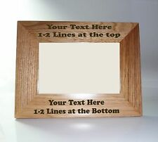 Personalised Oak Wooden Photo Frame -  7 x 5 Frame - Custom Engrave Any Message