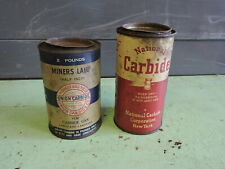 2 Antique Coal Miner Carbide Tin Cans, National and Union