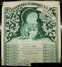ACCION DE LA CONSERVERA MARROQUI S.A. - TETUAN - 1947 - LITOGRAFIA DURA - VALENC