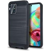 For Samsung Galaxy A71 5G Brushed Dual Layer Protect Hybrid Armor Case +SCREEN