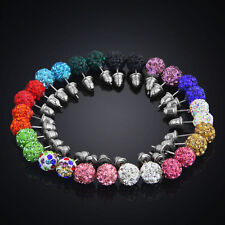 14pairs~  women Bling Ball Stud Earrings Rhinestone Clay beads crystal wholesale