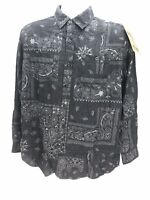 Akademiks Jeanius Black Paisley Long Sleeve Button Up Shirt Mens Small Regular