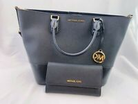 NWT Michael Kors Trista Large Grab Bag Leather Tote & Trifold Wallet Set  Black