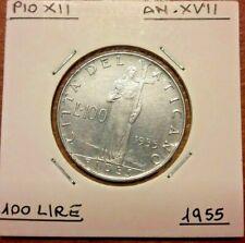 100 Lire, 1955 <==> 1958 Roma, TTB  Cité du Vatican, Pius XII Vaticano KM# 55