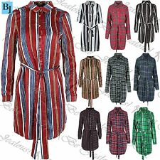 Unbranded Long Sleeve Shirt Striped Dresses for Women