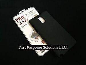 U.S. Seller Samsung Note 4 Tempered Glass Screen Protector + TPU Case Black