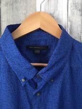 JOHN VARVATOS Men's Long Sleeve Blue Floral Button Up Shirt. EUC. Size XXL
