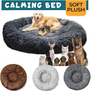 Pet Dog Cat Calming Bed Comfy Shag Warm Fluffy Bed Nest Mattress Fur Donut Pads