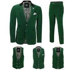 Mens Green Velvet Vintage 3 Piece Suit Blazer Waistcoat Trouser Sold Separately