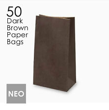 50 Small Dark Brown Paper Gift Bags 13x24x7.5cm Party Favours Loot Craft Lolly