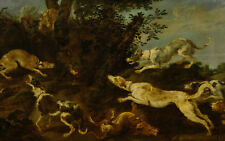 """perfect 36x24 oil painting handpainted on canvas""""Boar hunt """"N14034"""
