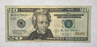 2013 $20 Dollar FRN, Paper Money, Star Note Serial Number ML 03278430*