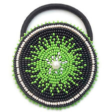 NEW CREAM BLACK GREEN BEADED HANDCRAFTED PONYTAIL HAIR BAND HAIR ACCESSORY Z44/8