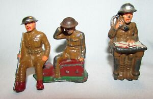 3 Barclay Manoil Toy Soldiers Sitting Rifleman Soldier w/Map on Radio