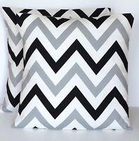 "12"" 16"" 24"" New Cushion Cover Grey White Black Zig Zag Print Handmade"