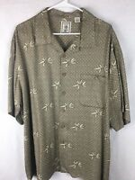 Men's Roundtree & Yorke Button Front Short Sleeve 100% Rayon Shirt Size XL